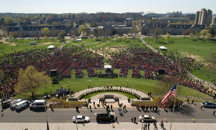Day of Remembrance from Burruss Hall roof