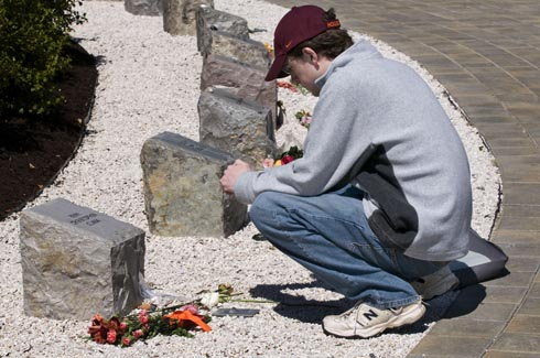 Pausing at the April 16 Memorial