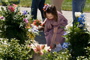 Child leaves flowers at memorial